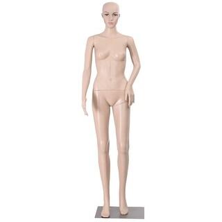 Costway Female Mannequin Plastic Realistic Display Head Turns Dress Form w/ Base