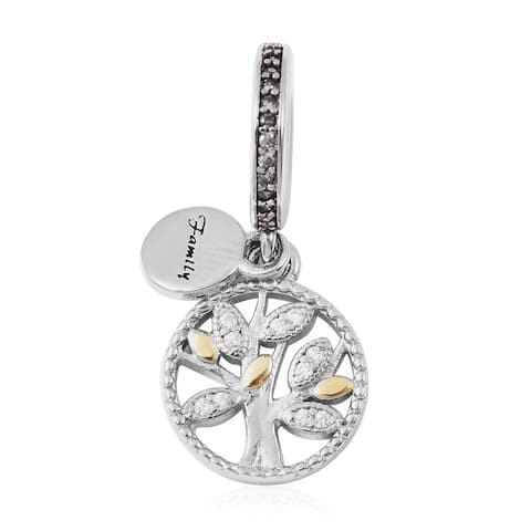 925 Sterling Silver Cubic Zirconia Simulated Diamond Tree Charm