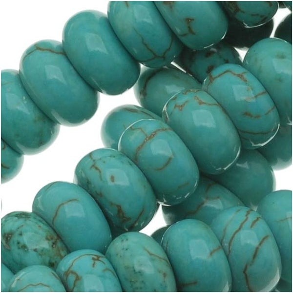 Blue Turquoise Gem Rondelle Beads 6 x 3mm/16 Inch Strand