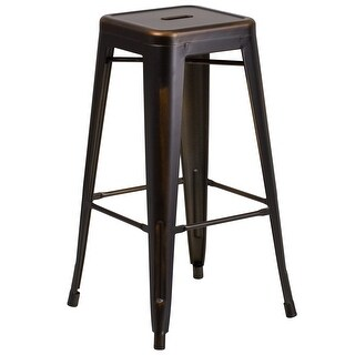 Carbon Loft Walton Distressed Metal 30-inch Backless Bar Stool
