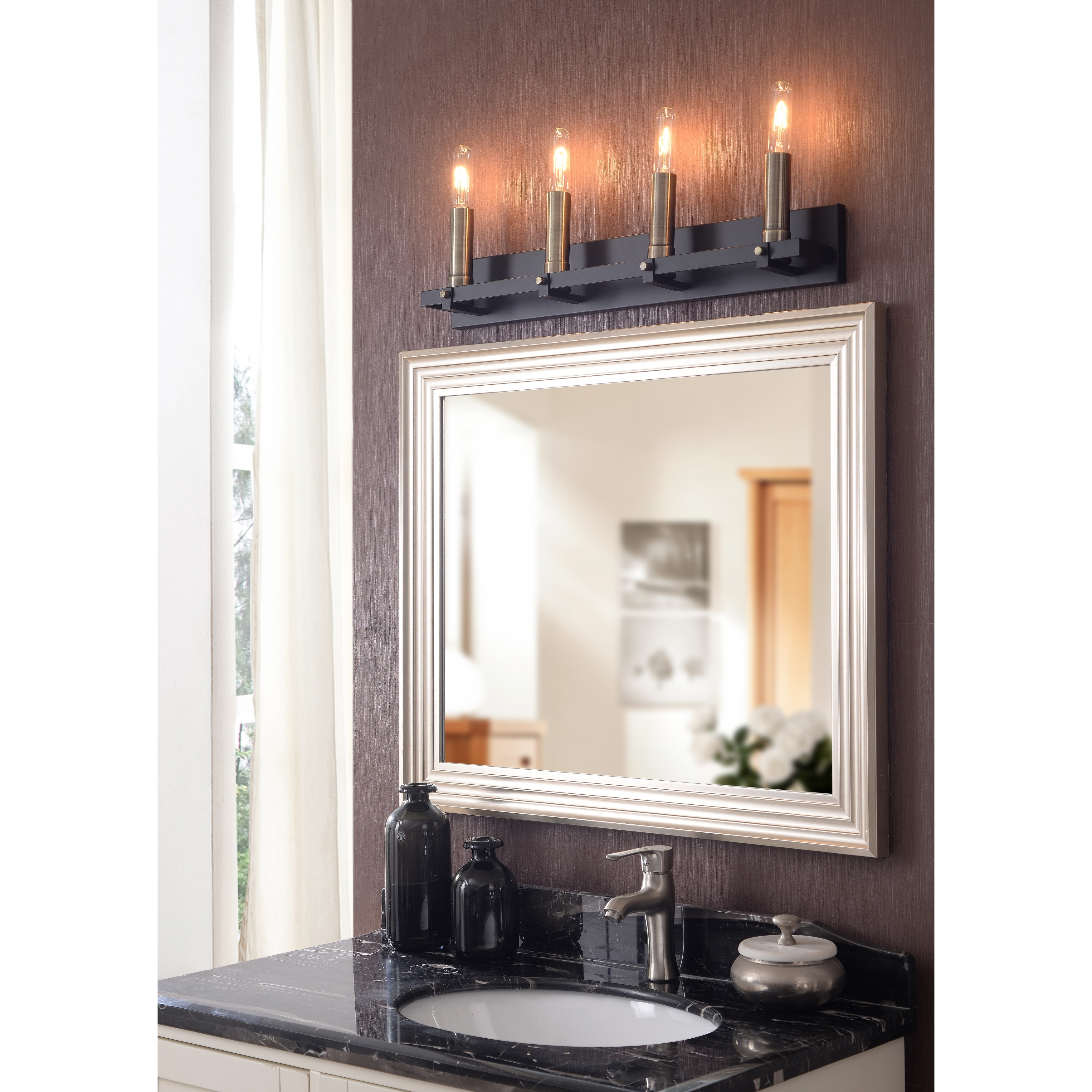 Shop Bedell Modern 4 Light Vanity Matte Black With Antique Brass 29 X 7 Overstock 31827193