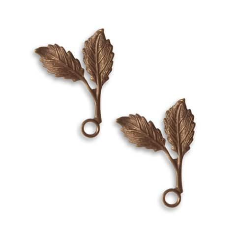 Vintaj Natural Brass Fastenables Beech Leaf Charms 23x16mm (2)