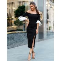 Ever Pretty Off Shoulder Sexy Tea Length LBD 05882 - Black