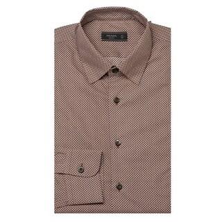 Prada Men's Spread Collar Patterned Cotton Dress Shirt Tobacco