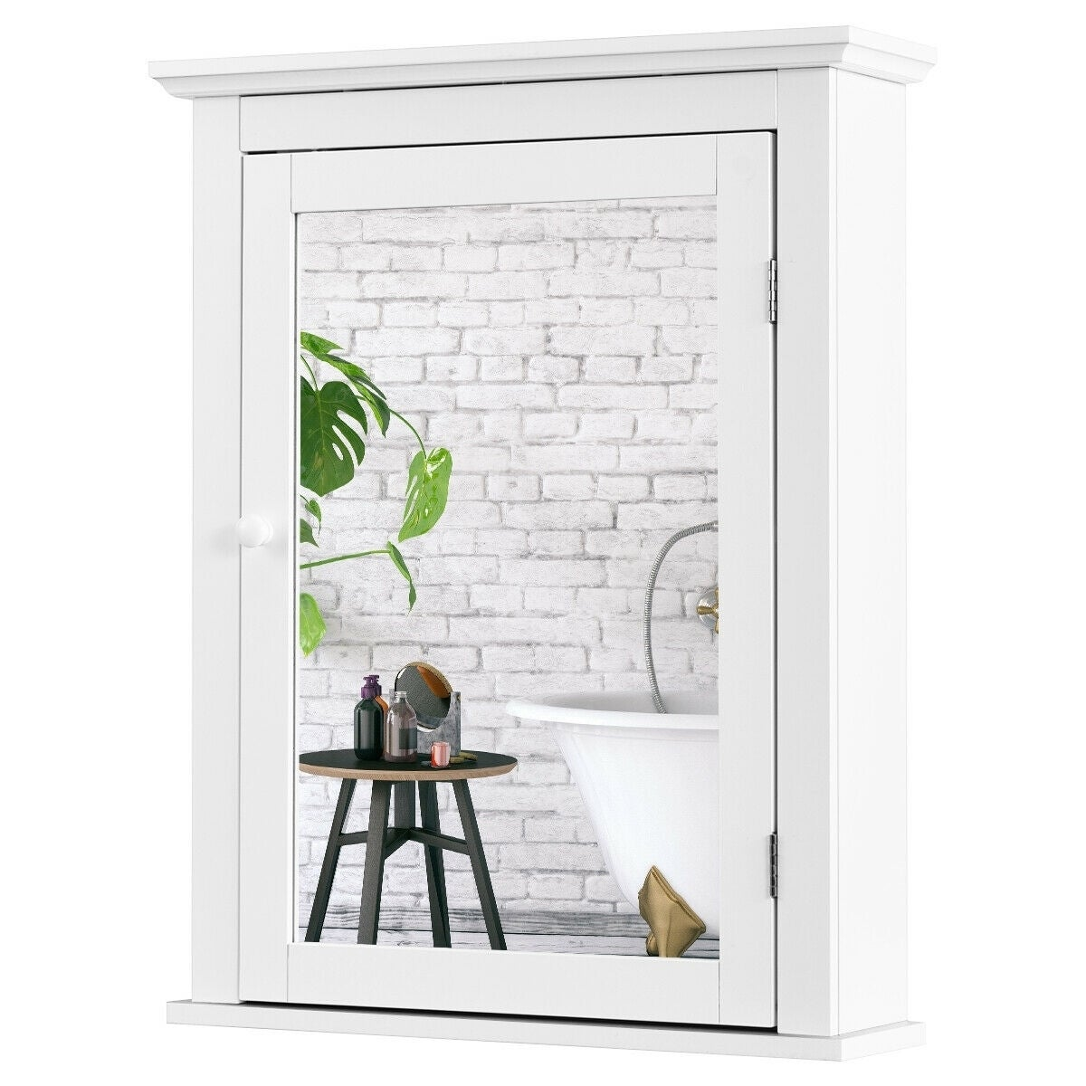 Bathroom Mirror Cabinet Wall Mounted Adjustable Shelf Medicine Storage White Overstock 30099747