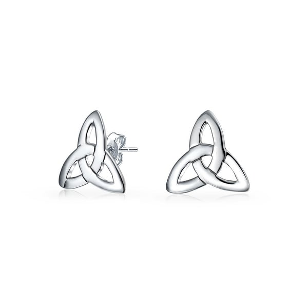 Irish Triquetra Celtic Trinity Knot Tiny Stud Earrings 925 Sterling Silver