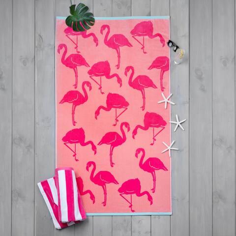 Martha Stewart 2-Piece Boardwalk Stripe and Flamingo Pink Beach Towels