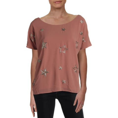 Chaser Womens Pullover Top Star Beaded Boatneck - Mauve