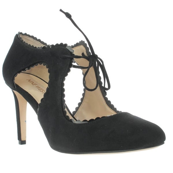 Nine West Hypatia Scalloped Mary Jane Heels, Black/Black
