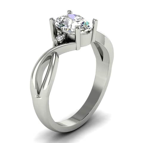 1.05 CT Oval & Round Cut Diamond Engagement Ring 1.00 Ct Center 14KT
