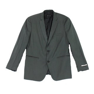 INC NEW Green Mens Size Large L Slim-Fit Faux-Leather Two Button Blazer