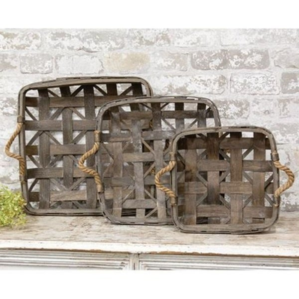 3/Set Natural Square Tobacco Baskets w/Jute Handles