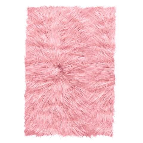 ECARPETGALLERY Handmade Faux Sheepskin Plush Rug