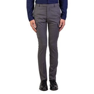 Dior Homme Men's Wool Slim Fit Cargo Dress Trousers Pants Light Grey