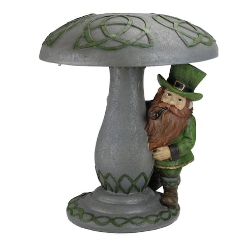 "12.25"" Leprechaun Standing Under Mushroom LED Solar Statue"