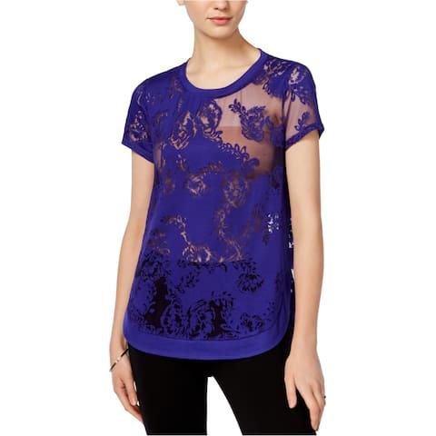 Bar Iii Womens Burnout Lace Embellished T-Shirt