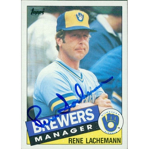 Signed Lachemann Rene Milwaukee Brewers 1985 Topps Baseball Card Autographed