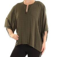 CATHERINE MALANDRINO Womens Green Kimono Sleeve V Neck Top  Size: M