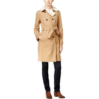 Tommy Hilfiger Womens Trench Coat Faux Fur Button-Up
