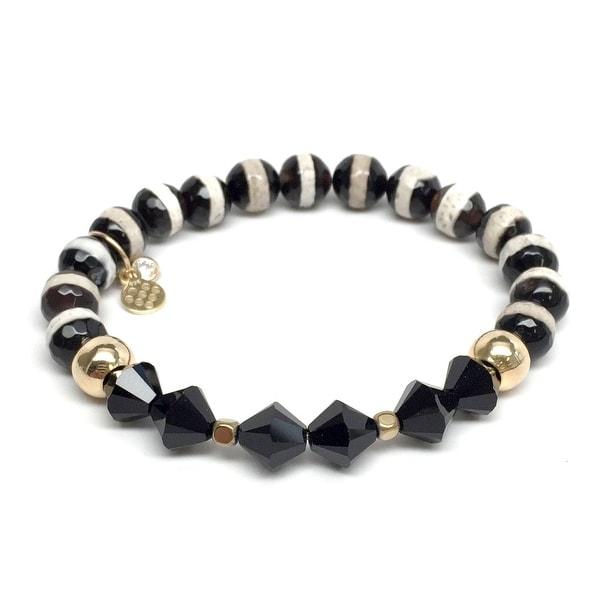 """Black & White Agate & Crystal Chloe 7"""" Bracelet"""