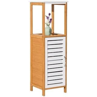 Costway Bamboo Bathroom Storage Rack Floor Cabinet Free Standing Shelf  Towel Organizer