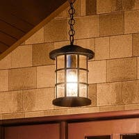 """Luxury Craftsman Outdoor Pendant Light, 15.5""""H x 10""""W, with Tudor Style, Wrought Iron Design, Natural Black Finish"""