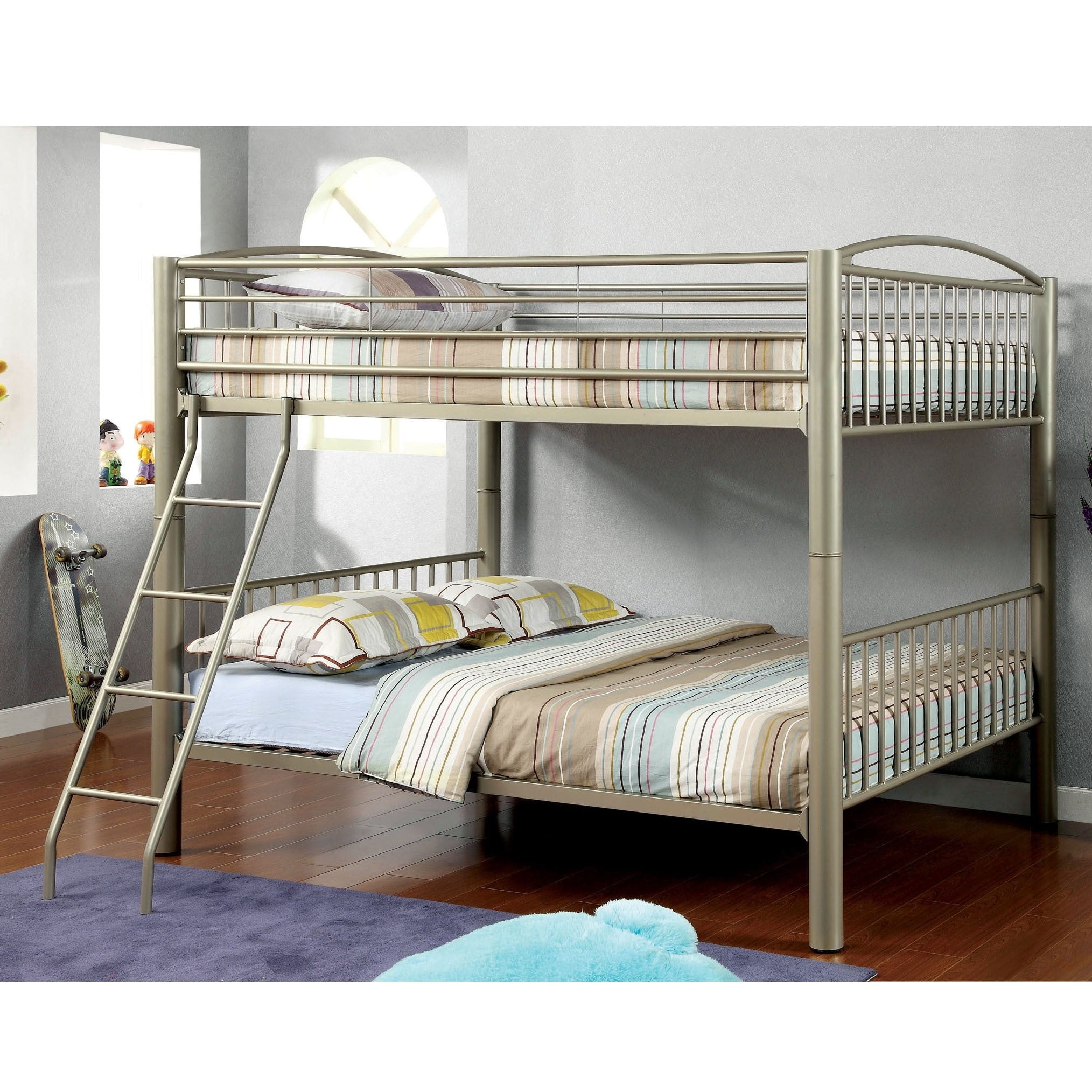 Picture of: Furniture Of America Laji Modern Gold Full Over Full Metal Bunk Bed Overstock 9183095