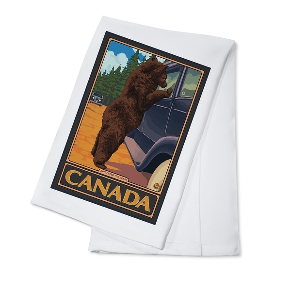 Canada - Hungry Bear - Lantern Press Artwork (100% Cotton Towel Absorbent)