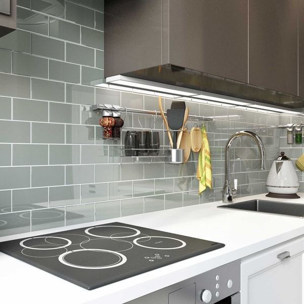 True Gray 3x6 Glass Subway Tile. Opens flyout.