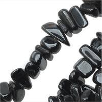 Hematite Gemstone Beads, Chips 5-12mm, 16.5 Inch Strand, Metallic Grey
