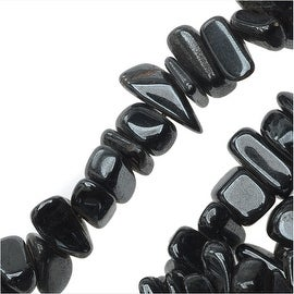 Hematite Gemstone Beads, Chips 5-12mm, 16.5 Inch Strand, Metallic Grey