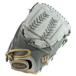 """Wilson Fastpitch Softball 34"""" Catchers Mitt Glove A2000 SuperSkin 2019 RHT Gray"""