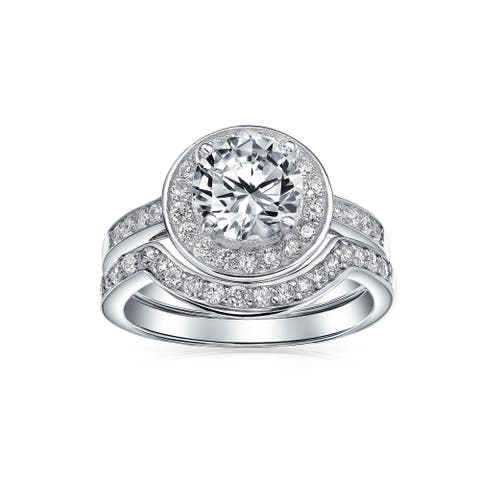 3.5CT Solitaire AA CZ Halo Engagement Wedding Ring Set Sterling Silver