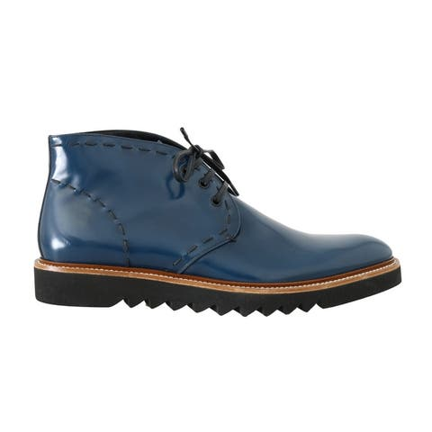 Dolce & Gabbana Blue Leather Ankle Women's Boots