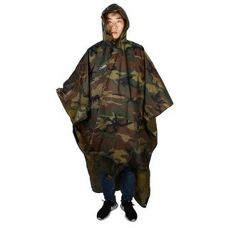 BLUEFIELD Authorized Camping Riding Hooded Raincoat Rain Poncho Camouflage Color