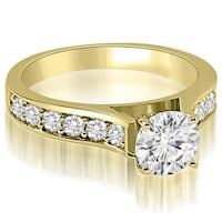 1.35 cttw. 14K Yellow Gold Cathedral Round Cut Diamond Engagement Ring