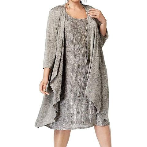 R & M Richards Women's Mock Crinkle Jersey Jacket Dress, Taupe/Black, 14W