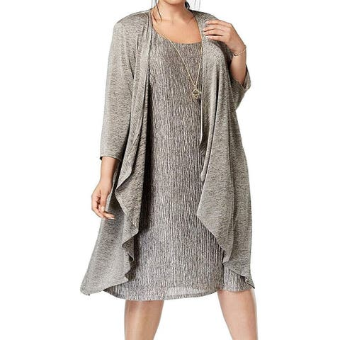 R & M Richards Women's Mock Crinkle Jersey Jacket Dress, Taupe/Black, 16W
