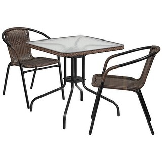 Skovde Square 28'' Glass Metal Table w/Dark Brown Rattan Edging and 2 Rattan Stack Chairs for Restaurant/Bar/Pub/Patio