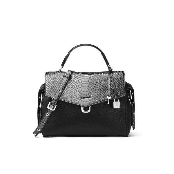 4fdb964dff6 Shop Michael Kors Black Pewter Bristol Metallic Satchel Leather ...