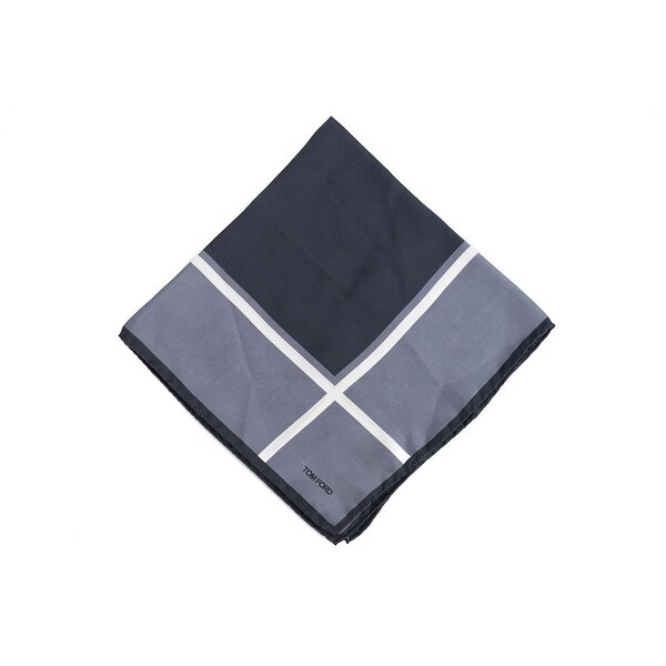 Tom Ford Mens Grey Window Pane Silk Pocket Square