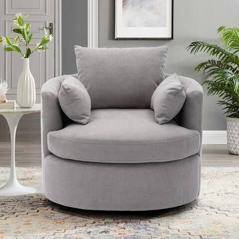 Linen Fabric Upholstered Swivel Barrel Accent Chair with Toss Pillows
