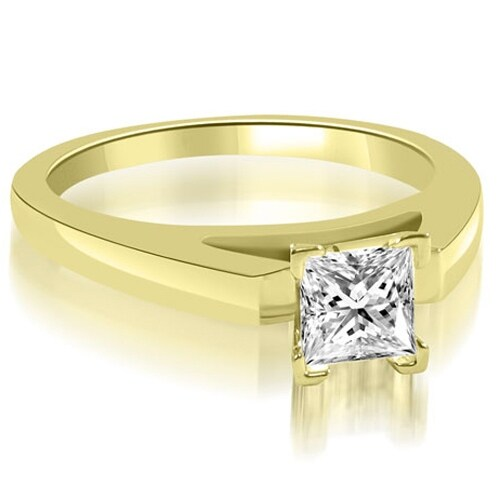 1.00 cttw. 14K Yellow Gold Cathedral V-Prong Princess Diamond Engagement Ring