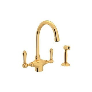 Rohl A1676LMWS-2 Country Kitchen Series Kitchen Faucet with Side Spray and Metal Lever Handles