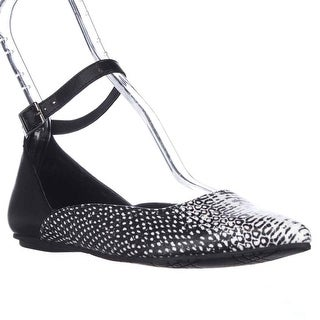 Kenneth Cole REACTION Snub City Pointed-Toe Ankle Strap Ballet Flats, Black White Snake