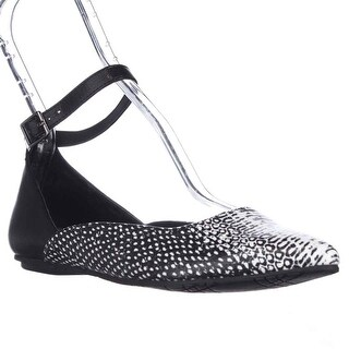Kenneth Cole REACTION Snub City Pointed-Toe Ankle Strap Ballet Flats, Black White Snake - 6.5 us