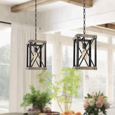 "LNC Rustic Wood Farmhouse 1-light Kitchen Island Pendant Lights - W9""xW9"" x H 16"""