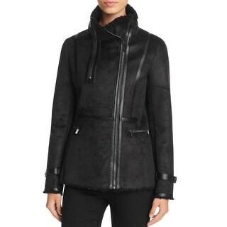 Calvin Klein Womens Coat Faux Shearling Outerwear - XS