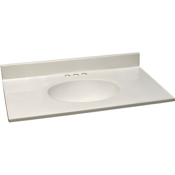 """Design House 586297 37"""" Cultured Marble Vanity Top with Backsplash - White on White"""