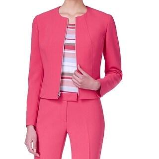 Anne Klein NEW Red Breton Women's Size 10 Collarless Zip-Front Jacket